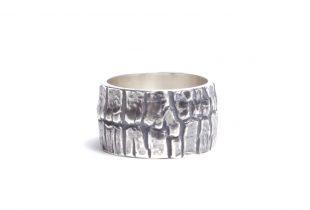 anneau mixte patiné argent massif - création bijoi