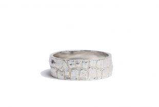 anneau argent massif mixte - création bijoi