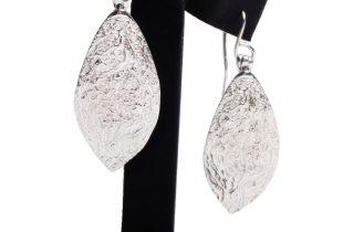 boucles d'oreilles feuille - argent massif - bijoi